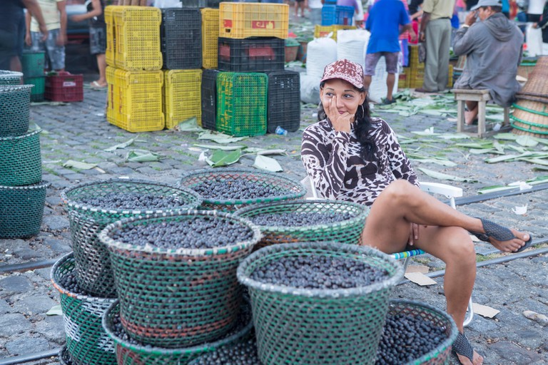 The morning acai berry tropical fruit market in Belem, Para, Brazilian Amazon. Image shot 2017. Exact date unknown.