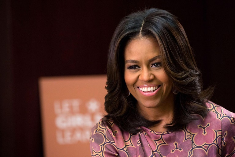 U.S. First Lady Michelle Obama smiles during an interview with Cosmopolitan magazine at the 2015 World Innovation Summit for Education in the Qatar National Convention Centre November 4, 2015 in Doha, Qatar.