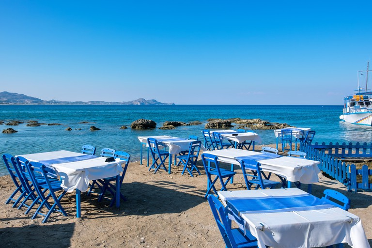Cafe on a beach. Kolymbia. Rhodes, Greece. Image shot 08/2015. Exact date unknown.