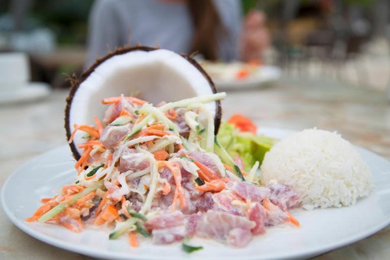 Poisson cru, raw fish with coconut milk
