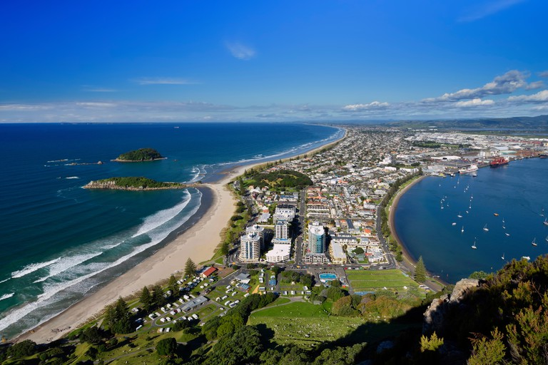 Mount Maunganui beach and port from the summit walking track