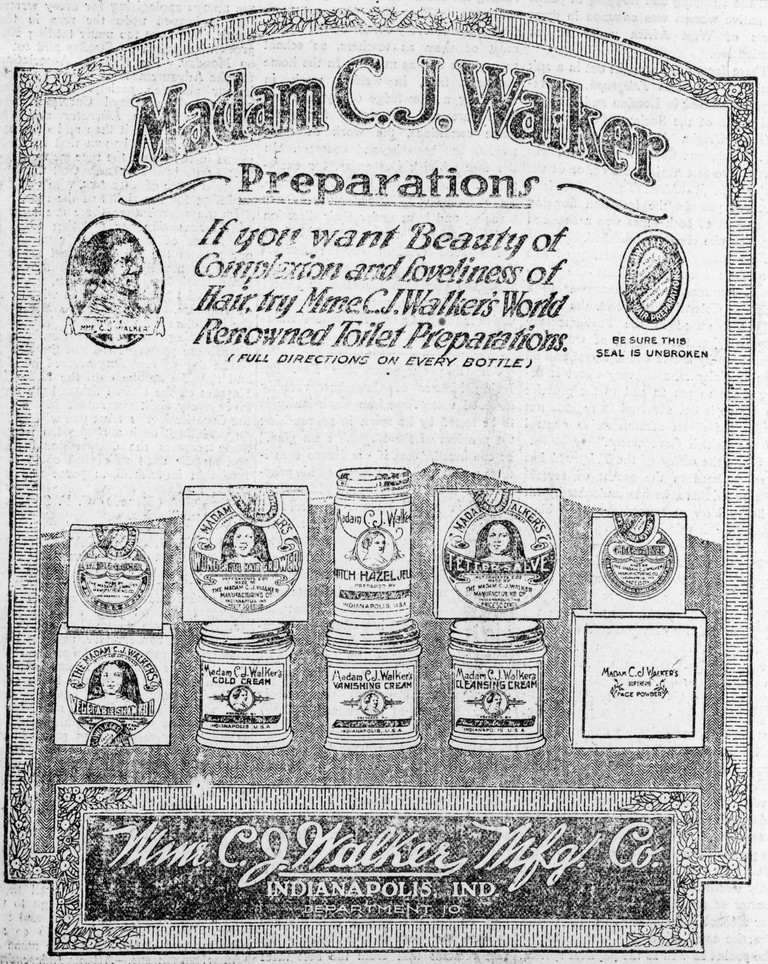 HAIR CARE AD, 1920. /nAmerican advertisement, 1920, for cosmetic and hair care products of the Madam C.J. Walker Manufacturing Company of Indianapolis, Indiana, founded by Sarah Breedlove Walker (1867-1919).