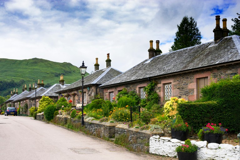 Old stone cottages in Luss, Scotland