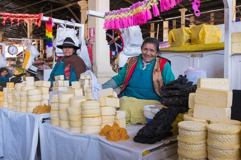 Peru, Cusco Province, Cusco, listed as World Heritage by UNESCO, San Pedro market, cheese saleswomen