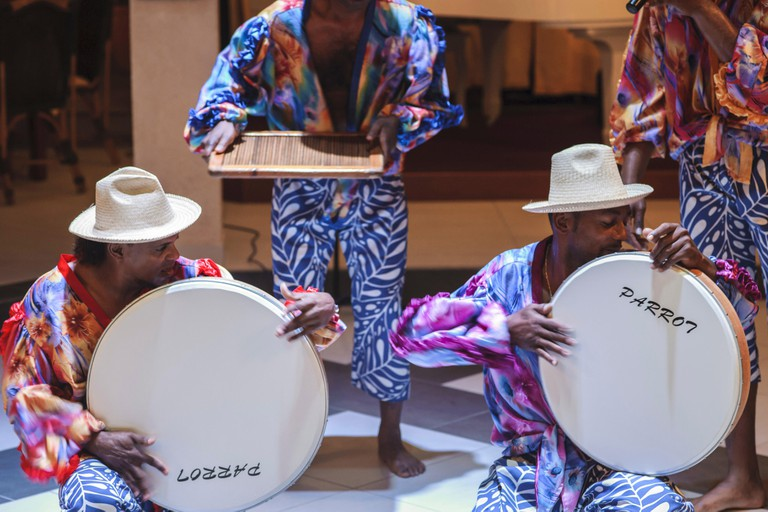 Mauritius drummers playing Ravanne, folk drum emblematic of the Indian Ocean, and used in Sega music