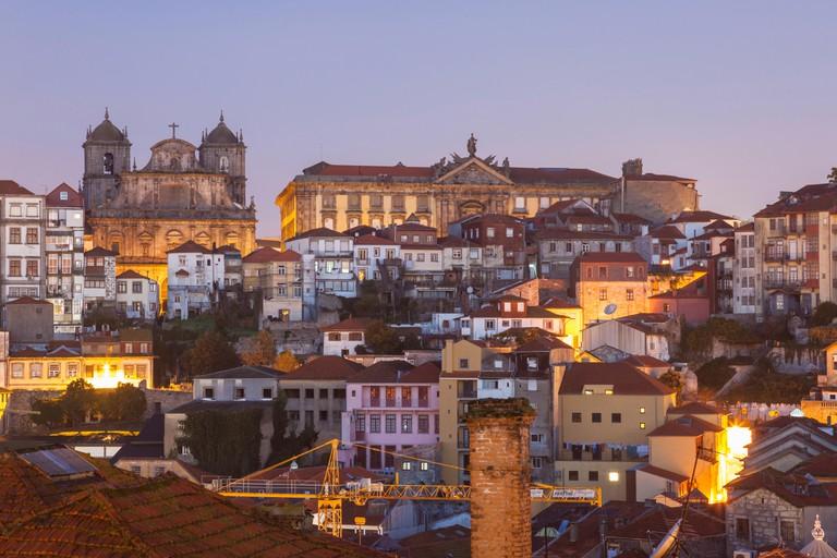 Dawn in Porto old town, Portugal.