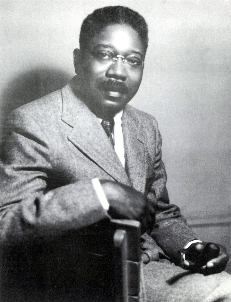 Undated photograph of Douglas. Aaron Douglas (May 26, 1898 - February 3, 1979) was an African-American painter and a major figure in the Harlem Renaissance. He developed an interest in art during his childhood. He graduated from Topeka High School in 1917
