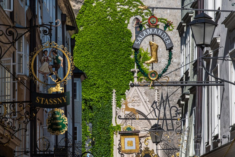 Typical wrought iron guild signs in Getreidegasse, Salzburg