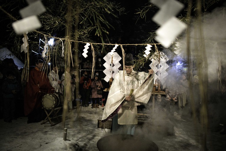 A ritual ceremony is performed during the Namahage Sedo Festival at Shinzan Shrine