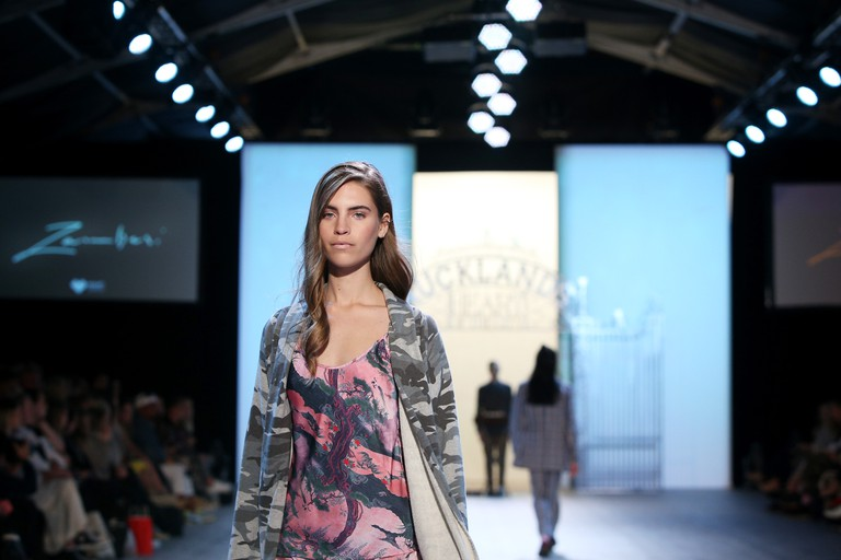 A model showcases designs by Zambesi during New Zealand Fashion Weekend