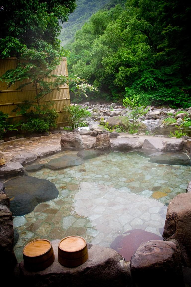 Outdoor Onsen in Hakone, Japan.