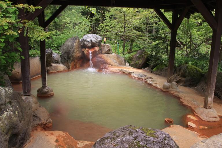 Outdoor onsen in japan