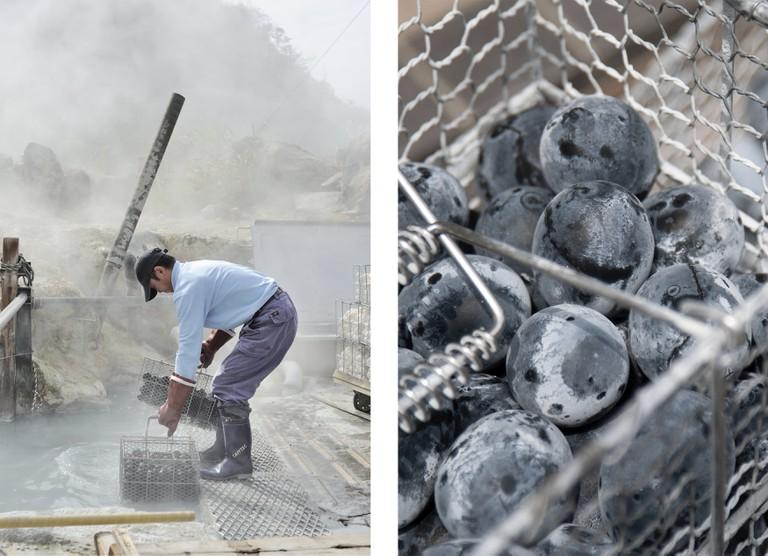 Black Egg Worker at Owakudani