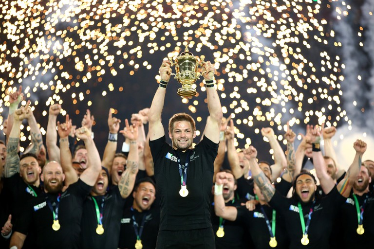 The All Blacks celebrate winning the Rugby World Cup in 2015