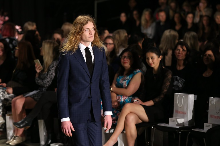 A model showcases designs by Working Style at New Zealand Fashion Week