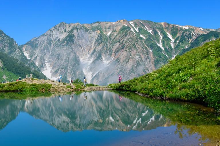 Shirouma mountains and Happo-ike Pond at Happo-one in Hakuba, Nagano