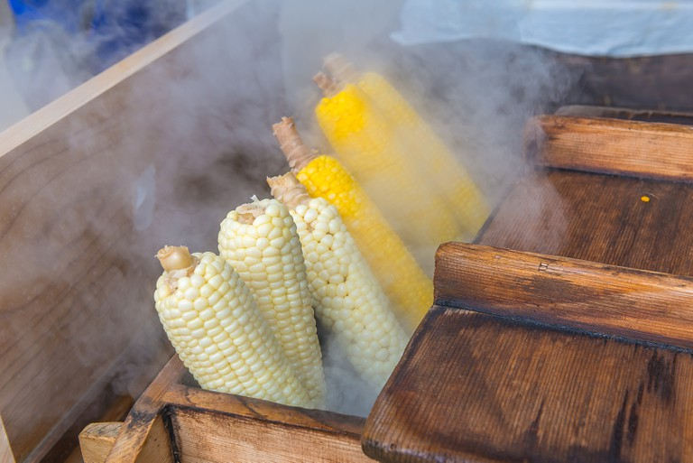 Sweet corn at street food stall