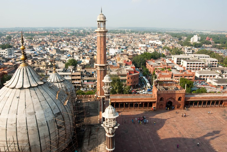 An aerial view of the Jama Masjid mosque overlooking Old Delhi, India