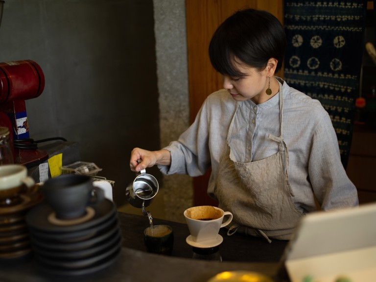 Women working at a cafe in Okinawa, Japan.
