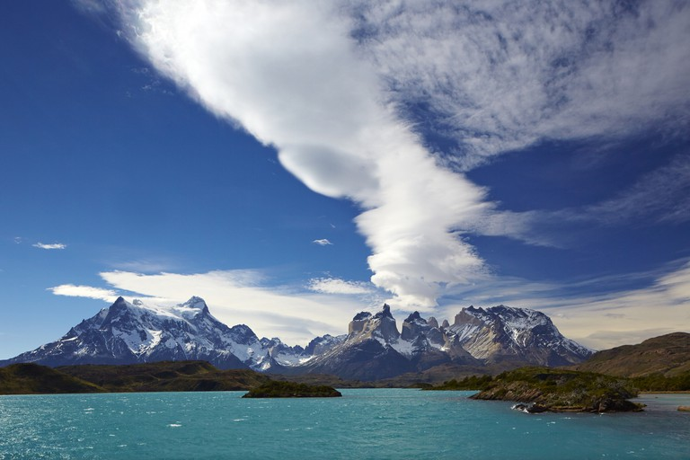 Mountains of Cordillera Paine on seashore