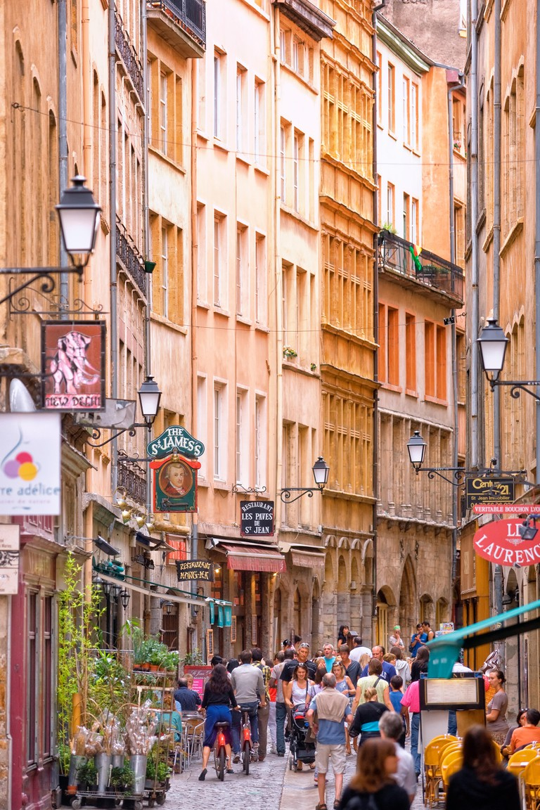 The rue St Jean in the old Lyon, France