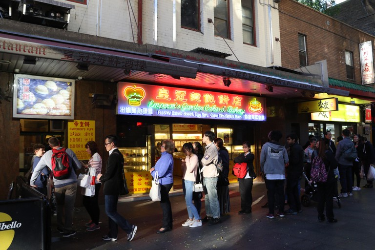 A queue outside Emperor's Puffs in Chinatown