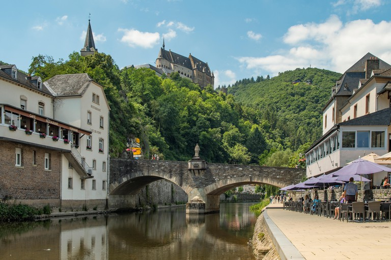River Our and Chateau Vianden, Vianden, Luxembourg