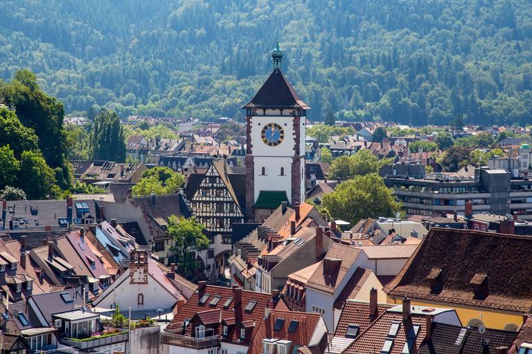 Schwabentor historic city gate of Freiburg im Breisgau, Germany