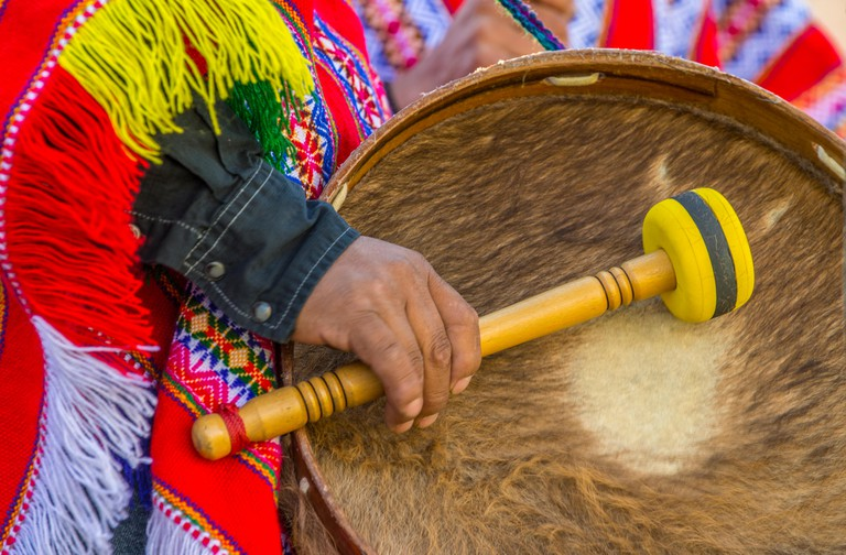 Peruvian musician playing drums