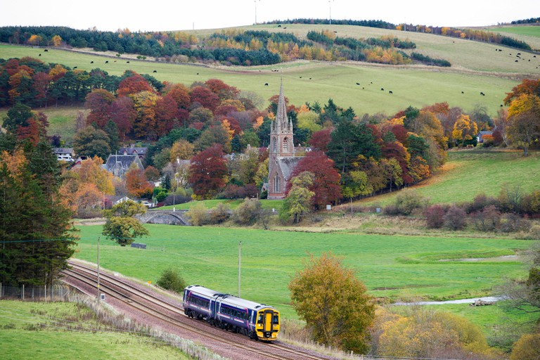 A Scotrail train on the Scottish Borders railway line near Stow on route between Edinburgh Waverley and Tweedbank, Galashiels.