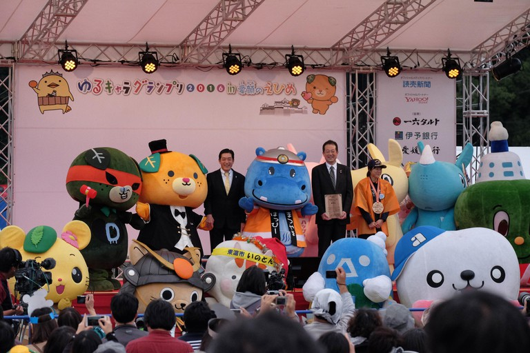 Japanese mascot characters at the Yuru-Kyara Grand Prix in Matsuyama, Japan.