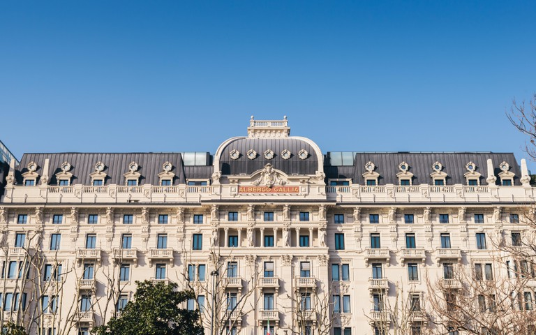 A view of the famous Hotel Gallia in Milan, Italy.