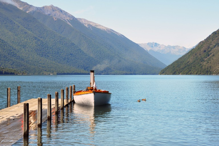 Steam boat and jetty on Lake Rotoiti in the Nelson Lakes District of the South Island, New Zealand.