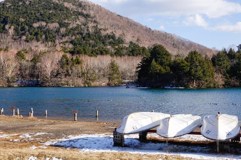 Landscape of the lake at winter in Yumoto Onsen, Nikko, Japan.