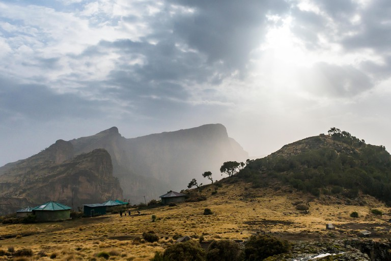 Sun setting over the Simien Mountains National Park