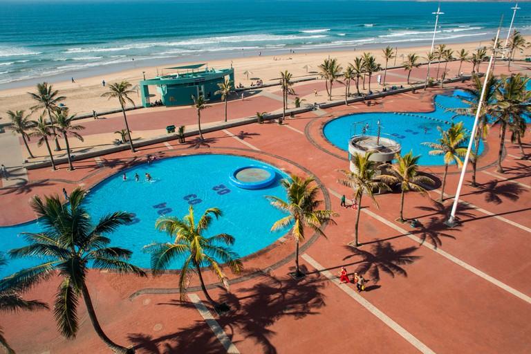Public pools near the promenade of Golden Mile in Durban