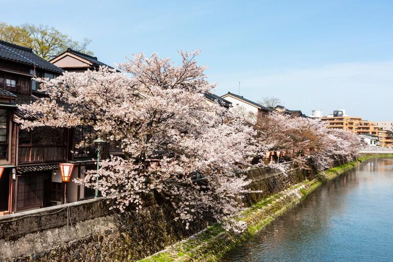 Asanogawa river in Higashi Chaya district, Kanazawa, Japan.