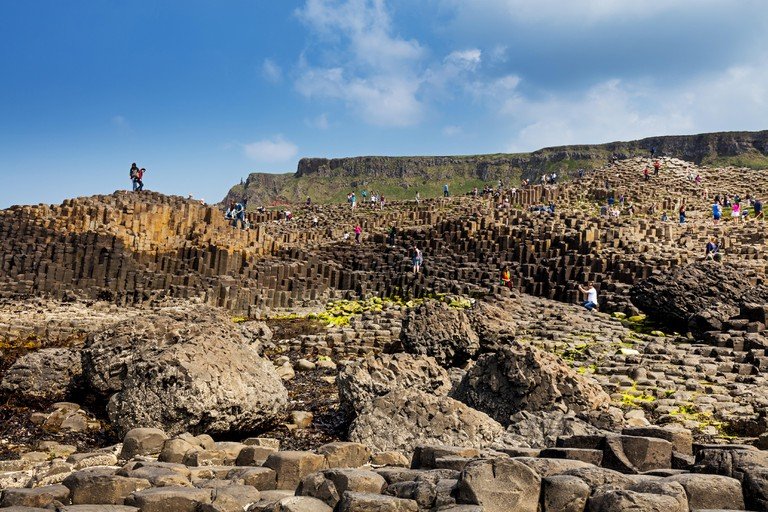 Tourists visiting Giant's Causeway
