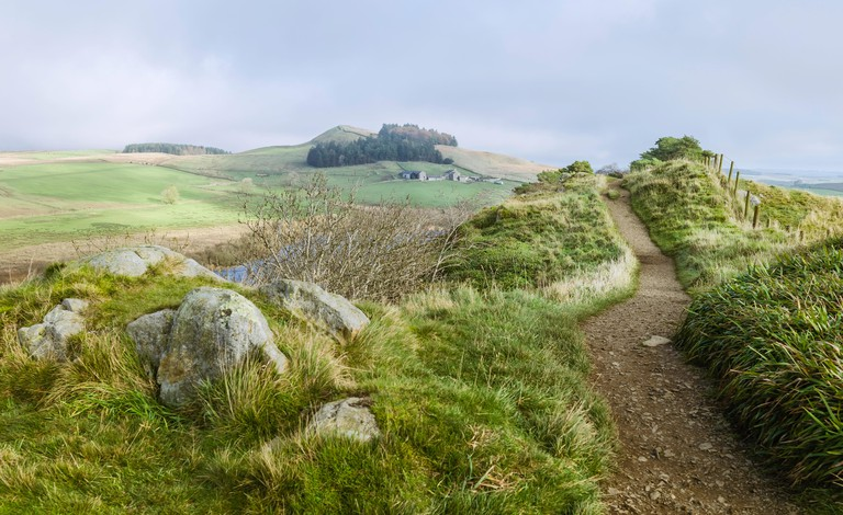 View from Peel Crags and Crag lough along Hadrian's Wall footpath