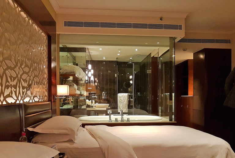 Executive Bedroom and bathroom in the Five Star, Taj Palace Hotel, Delhi.