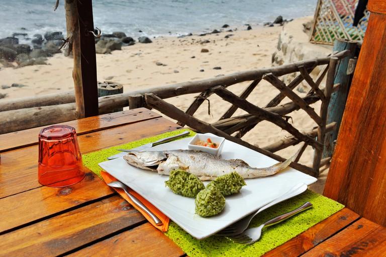 Freshly-caught fish at restaurant