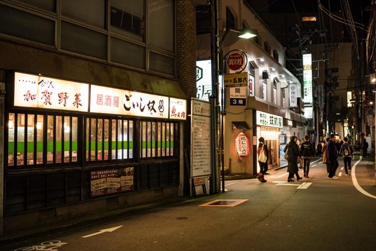 Street Scene around Katamachi, Kanazawa City, Japan.