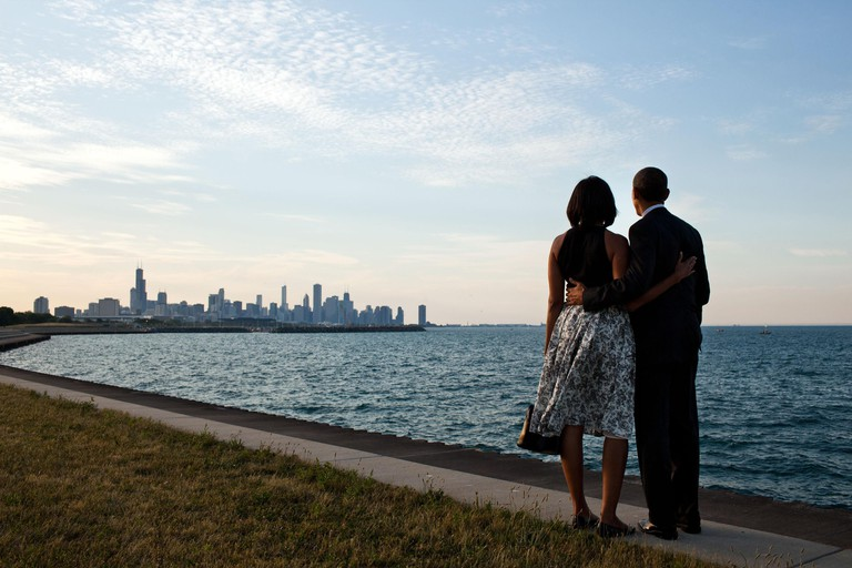 President Barack and Michelle Obama look at the Chicago skyline, June 15, 2012. The Obama's married there in 1992 and it was their home and political base before he elected President. (BSLOC_2015_3_24)