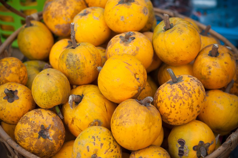 Close up of Lucuma in a street food market