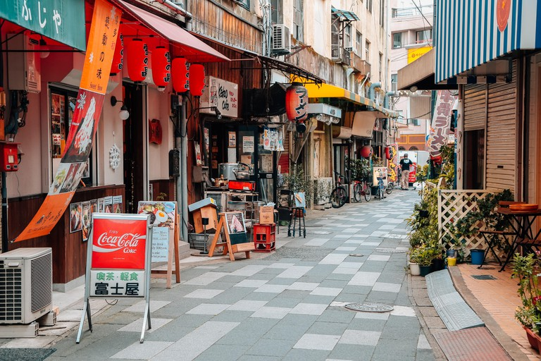 Bars and restaurants in Fukuoka, Japan.