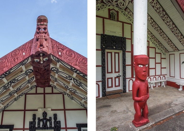 Left: Carved meeting house wharenui Poutama Right: Carved ancestor figure