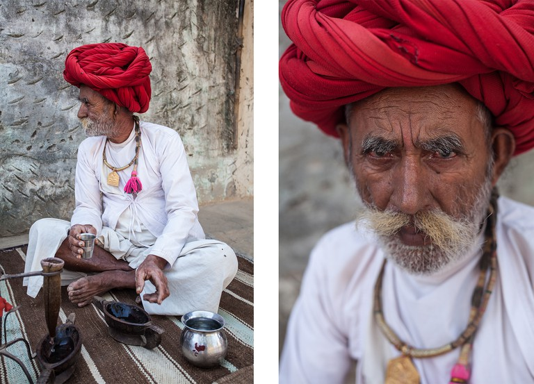 Left: Opium tea is a traditional tipple among older Raika men, most of whom suffer arthritis from years of walking across the desert / Right: Raika elder in traditional red pagri and neck band