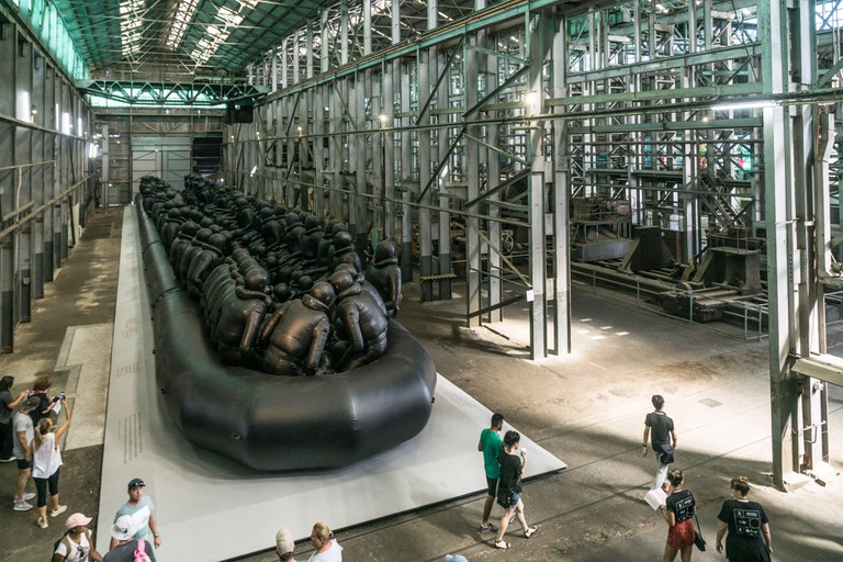 """Law of the Journey"", 2017.  An artwork by Chinese artist Al Weiwei on display at the Biennale of Sydney in 2018 on Cockatoo Island"
