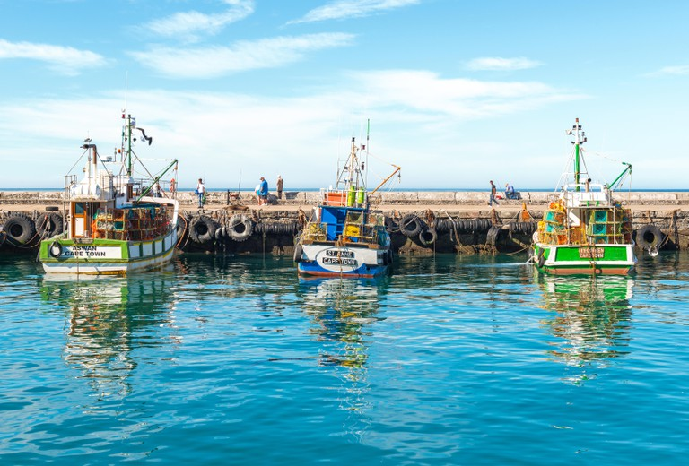 Fishing boats in the harbor of Kalk Bay