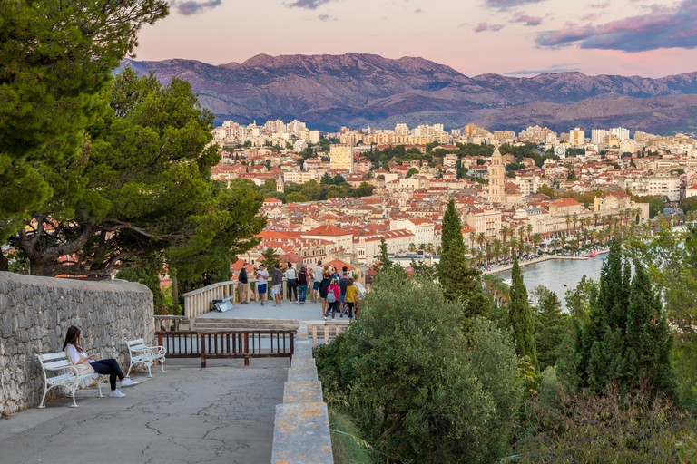 View from Marjan Hill over the old town of Split at dusk
